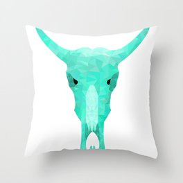 Turquoise Triangle Cow Skull Throw Pillow