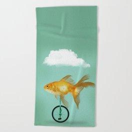 unicyle goldfish III Beach Towel