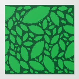 Painted Tree Leaves V2 - Green Canvas Print