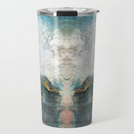 Lapis - Contemporary Abstract Textured Floral Travel Mug