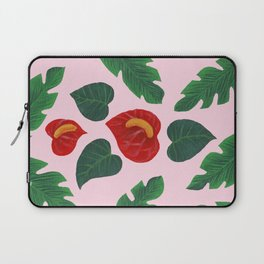 Anthurium Flowers and Banana Leaves Laptop Sleeve