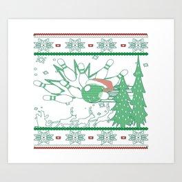 Bowling Christmas Art Print