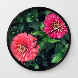 Two Pink Red Zinnia Flowers in Lush Garden Wall Clock