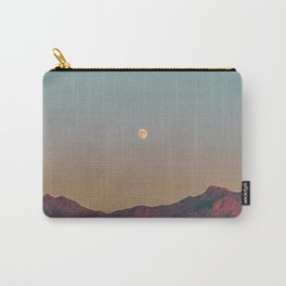 Sunset Moon Ridge // Grainy Red Mountain Range Desert Landscape Photography Yellow Fullmoon Blue Sky Carry-All Pouch