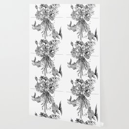 Waterlilies and goldfishes Wallpaper