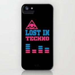 Lost in techno music design iPhone Case