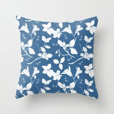 Drawings from Stonecrop Garden, Pattern in Blue & White Throw Pillow