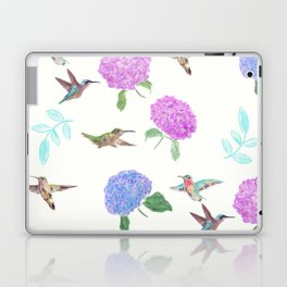 seamless  pattern with flowers and hummingbirds watercolor Laptop & iPad Skin