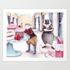 Jellies and Cakes - The Town Mouse and the Counrty Mouse - Aesop's Fables Art Print