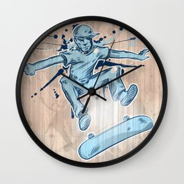 skater hand draw  Wall Clock