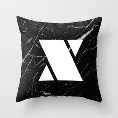Black Marble - Alphabet X Throw Pillow