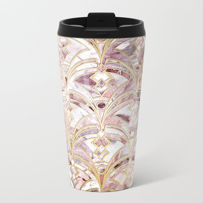 Dusty Rose and Coral Art Deco Marbling Pattern Metal Travel Mug
