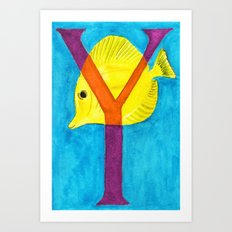 Y is for Yellow Tang Art Print
