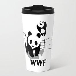 Wrestling WWF Panda Travel Mug