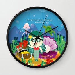 Mermaid Girl Wall Clock