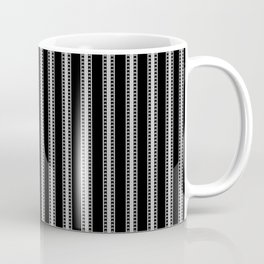 Black and White French Fleur de Lis in Mattress Ticking Stripe Coffee Mug