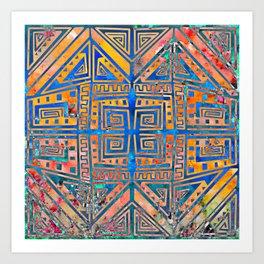 """Aztec"" 2   Vibrant And Funky Pattern Art Print"
