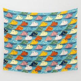 Happy Hippo Family Wall Tapestry