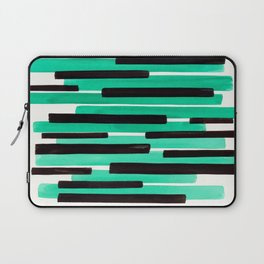 Pastel Teal Primitive Stripes Mid Century Modern Minimalist Watercolor Gouache Painting Colorful Str Laptop Sleeve
