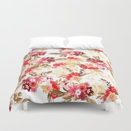 Pastel pink red brown modern hand drawn fall floral illustration Duvet Cover