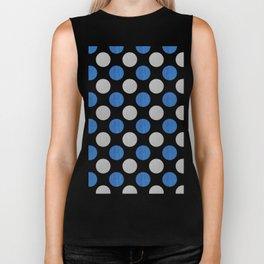 Blue Gray Dots Pattern Biker Tank