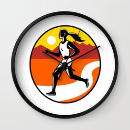 Female Runner Mountains Oval Retro Wall Clock