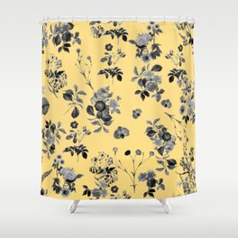 Black and White Floral on Yellow Shower Curtain