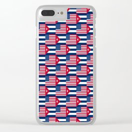 Mix of flag : usa and Cuba Clear iPhone Case
