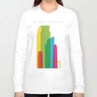 fargo Long Sleeve T-shirts featuring Shapes of Minneapolis by Glen Gould