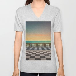 Mascagni Terrazza terrace at sunset. Livorno Tuscany Italy Unisex V-Neck