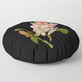 Rhododendron Maximum Mary Delany Vintage Botanical Paper Flower Collage Floor Pillow