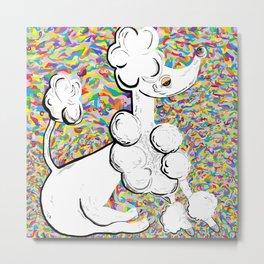 White Poodle Metal Print