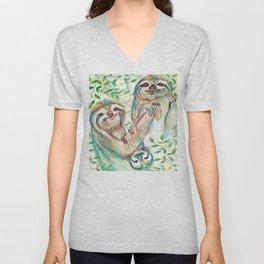 Sloth Family Unisex V-Neck