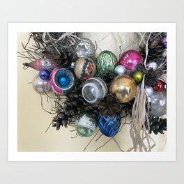 Vintage Ornament Wreath Art Print