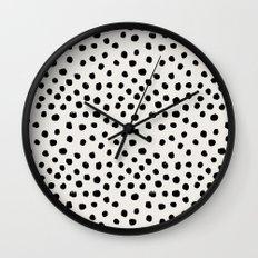 Preppy brushstroke free polka dots black and white spots dots dalmation animal spots design minimal Wall Clock