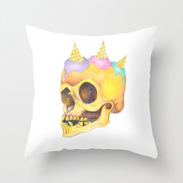 Skull Cream Throw Pillow
