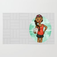 volleyball Area & Throw Rugs featuring Volleyball Girl by Everybody Illustrated