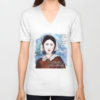 florence V-neck T-shirts featuring Florence Nightingale by The History Witch