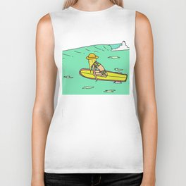 Moving Forward // lady slider surf art // surfy birdy Biker Tank