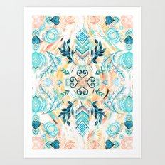 Abstract Painted Boho Pattern in Cyan & Teal Art Print