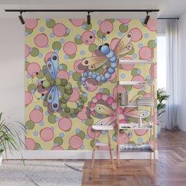 Dragonflies & Polka Dots Wall Mural