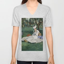 Édouard Manet - The Monet Family in Their Garden at Argenteuil Unisex V-Neck