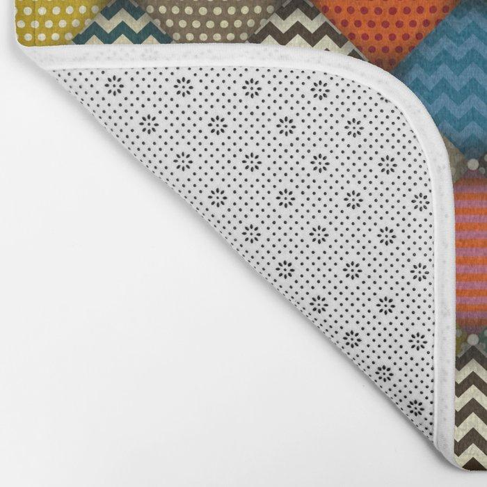 buttoned patches retro Bath Mat