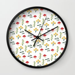 Whimsical Mushroom Garden Wall Clock