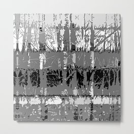Tropical Abstract Trees in Steely Gray Metal Print