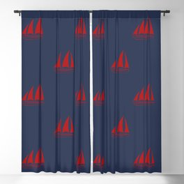Red Sailboat Pattern on navy blue background Blackout Curtain