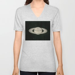 Print of a drawing by Warren De la Rue of Saturn and its moons Tethys and Enceladus - 1852 Unisex V-Neck
