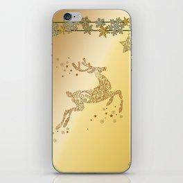 Christmas, beautiful golden reindeer with snowflakes iPhone Skin