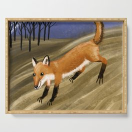 Happy fox in a field at night Serving Tray