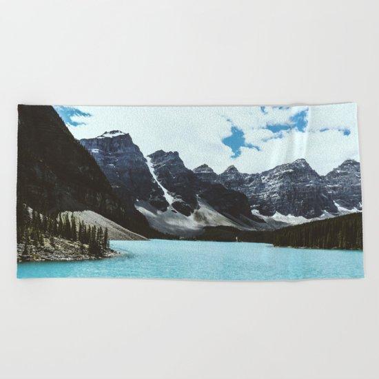 Lake Moraine landscape Beach Towel